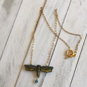 NWT Handcrafted dragonfly necklace